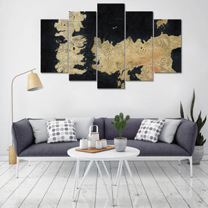 Wall Art Canvas Posters HD Printed For Living Room Home Decor Modular 5 Pieces Game Of Thrones Paintings Abstract Map Pictures