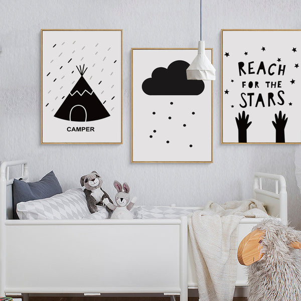 Elegant Poetry Camping Adventure Black and White Simple A4 Canvas Painting Print Poster Picture Wall Art Bedroom Home Decorative