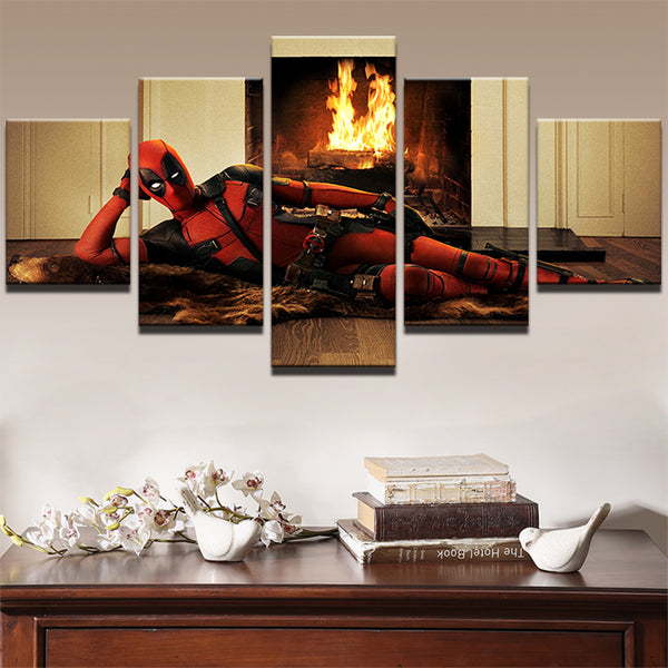 PENGDA Canvas Printe Painting For Living Room Pictures Wall Art Frames 5 Panel Funny Deadpool Movie Poster Modern Decor Artworks