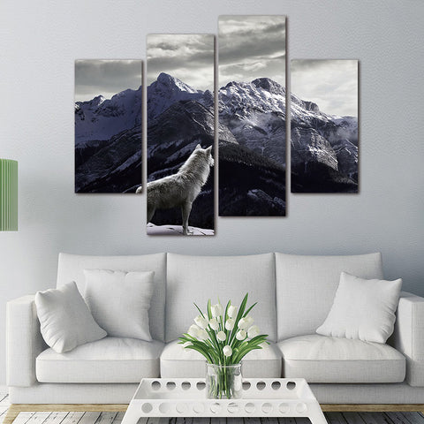 Wall Art Picture Canvas Paintings Wall decoration Unframed 4 PanelsPhoto Prints White Wolf Looked At The Snow-capped Mountains