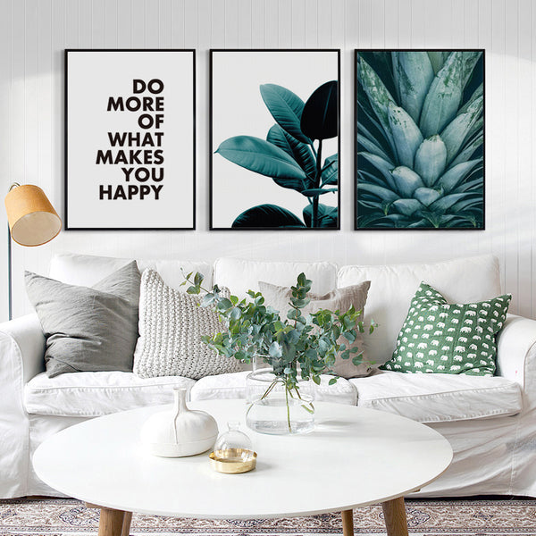 Modern Abstract Plant Pineapple Leaves and Phrase Canvas Painting Art Print Poster Picture Wall Painting Home Decor