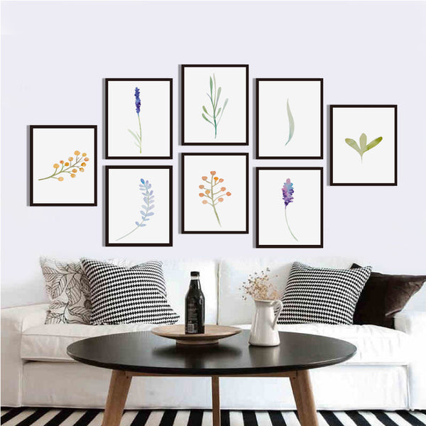 Elegant Poetry Simple Watercolor Flower Plant A4 Canvas Painting Art Print Poster Picture Mural Elegant Home Bedroom Decoration