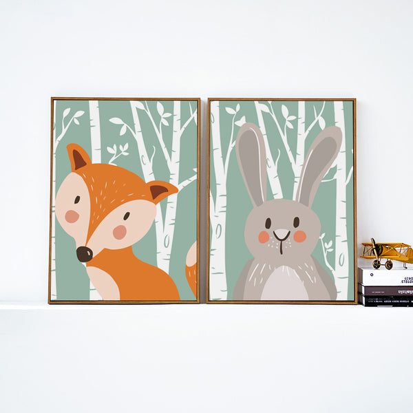 Elegant Poetry Cute Cartoon Animals Fox Rabbit Bear A4 Canvas Painting Art Print Poster Picture Children's Room Wall Decoration