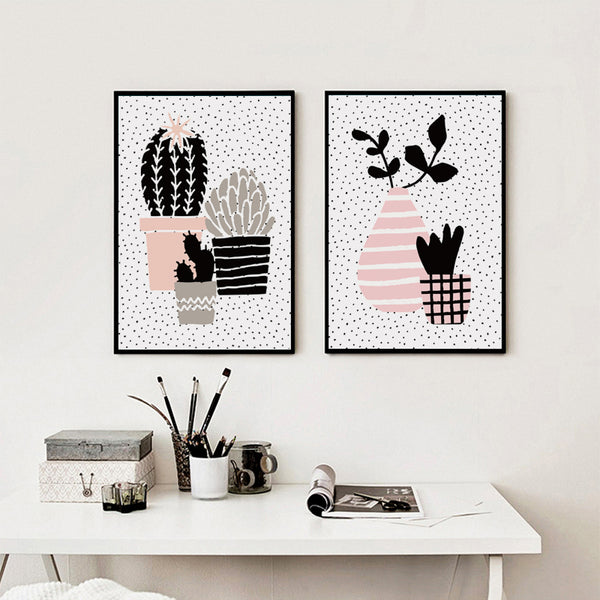 Elegant Poetry Nordic Abstract Geometric Potted Plants Canvas Painting Art Print Poster Picture Wall Painting Home Bedroom Decor