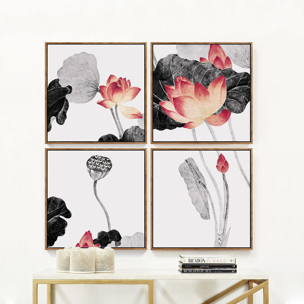 Elegant Poetry Modern Minimalist Style Depiction Of Lotus Blooming Canvas Painting Art Print Poster Picture Mural Bedroom Decor