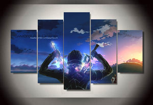 5 Panel Cartoon Sword Art Online Modern Home Wall Decor Painting Canvas Art HD Print Painting Canvas Wall Picture For Home Decor