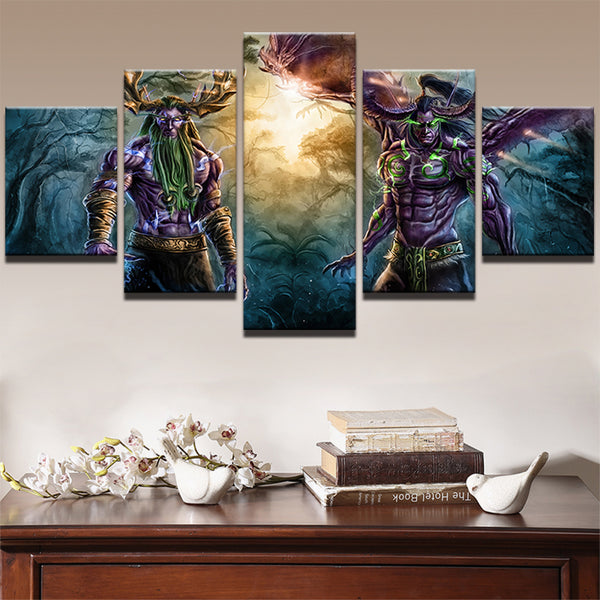 PENGDA Home Decor Pictures Frame Painting Canvas Wall Decor Print Poster 5 Panel Game World Of Warcraft Canvas Modular Painting