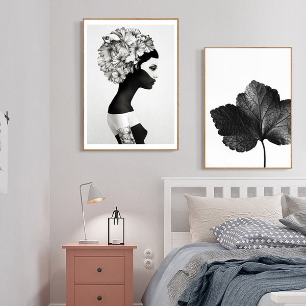 Nordic Poster Black Beauty Abstract Flower Posters And Prints Wall Art Canvas Painting Wall Pictures For Living Room Unframed