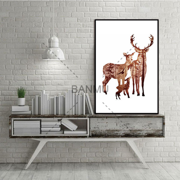 Deer Family with Pine Forest Nordic Abstract Trees Wall Pictures Art Decoration Pictures Scandinavian Canvas Painting No Frame