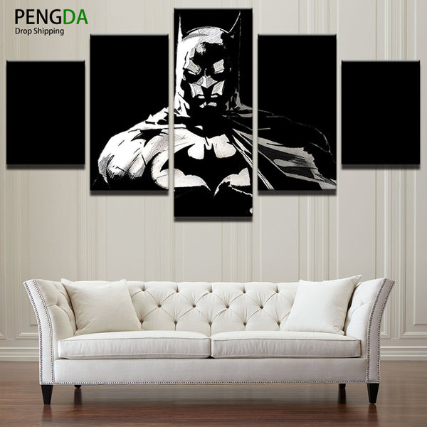 PENGDA Modern Canvas Painting Frame Wall Art Print Modular Abstract Pictures Home Decor 5 Panel Batman Dark Knight Movie Poster