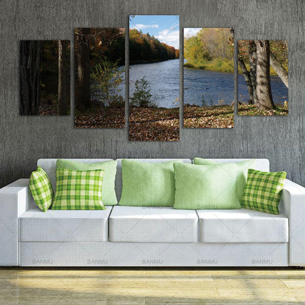 Wall Art 5Pcs River  definition pictures canvas prints Home Decoration living room modular painting Print cuadros(no frame)