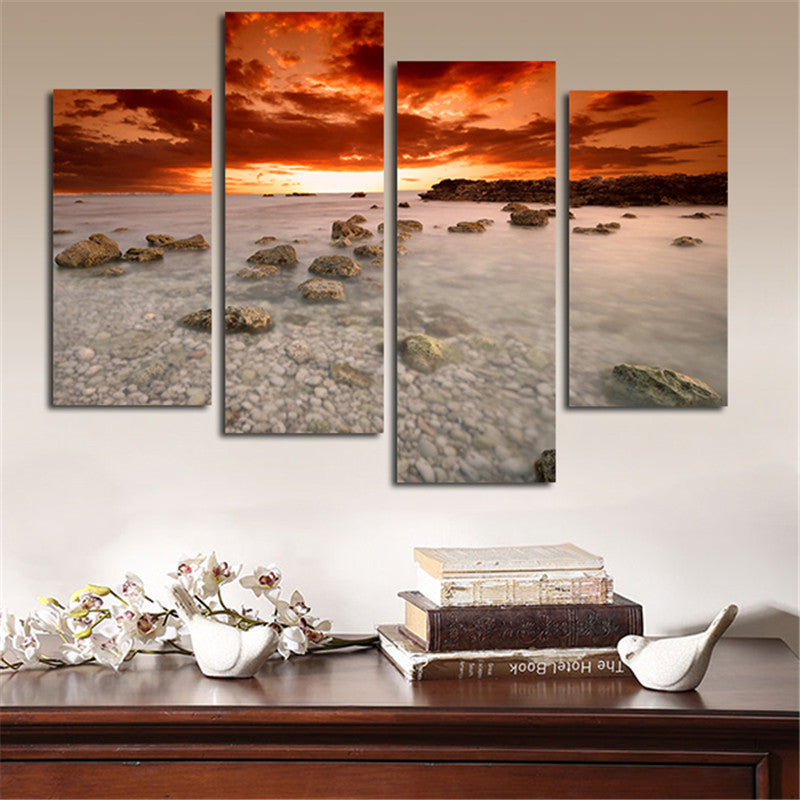 No Framed Wall Painting Canvas Modular Art Picture Sunrise Sea With Stone Poster And Prints Home Decoration For Living Room