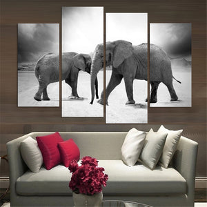 4 Pcs(No Frame) Elephant Painting Canvas Wall Art Picture Home Decoration  Living Room Canvas Print Modern Painting-Large Canvas