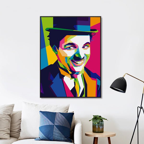 Elegant Poetry Simple Fashion Classic Movie Star Charlie Chaplin Art Portrait Canvas Painting Print Image Poster Wall Home Decor