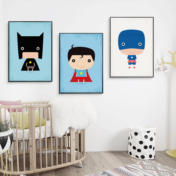 Elegant Poetry Lovely Super Little Hero Cartoon Canvas Painting Art Print Poster Picture Mural Home Decoration, Wall Decor
