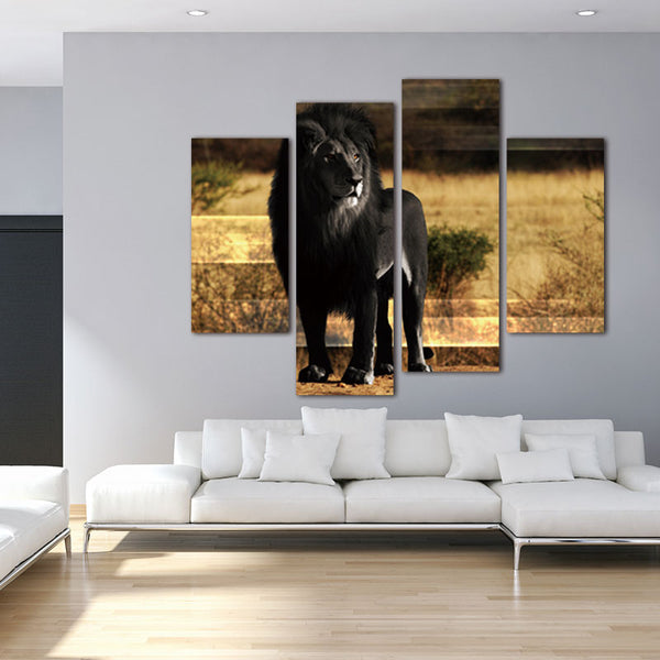 Fir Black Lion  Art Painting Pictures Print On Canvas Animal Printed Lion White Black Painting Canvas Print Painting (Unframed)
