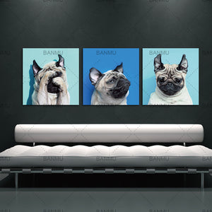 Animal World Series 13 Pug Puppy Modern Canvas Wall Art Paintings Puppy Blue Artwork for Bedroom Living Room Decoration