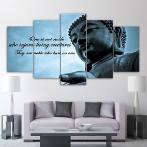 Wall Art Frame Pictures HD Printed 5 Pieces Huge Buddha Statue Zen Canvas Poster Modern Living Room Decor Art Painting Artwork