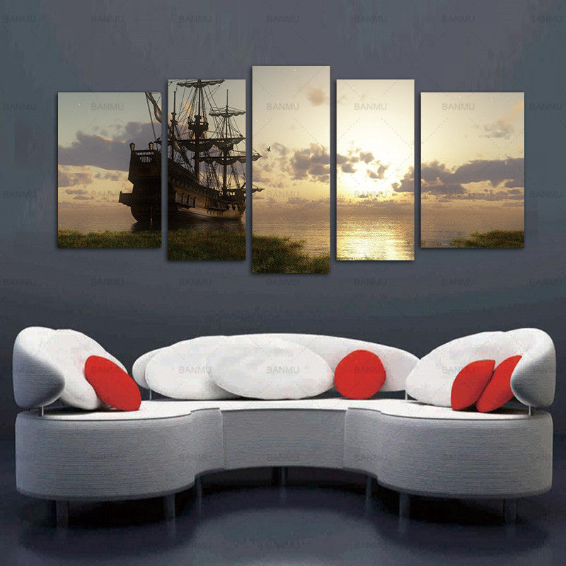 5 Panel Wall Art Painting Fantasy Ship Sail Boat In Lake Sunset Prints On Canvas Oil For Home Modern Decoration Print Painting