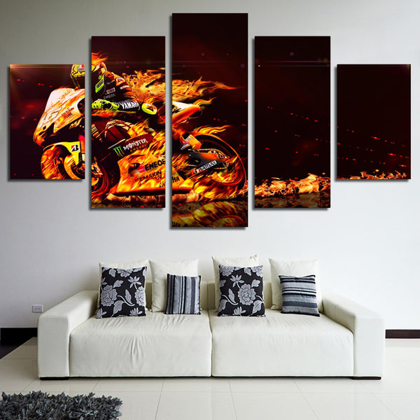 Wall Canvas Art Poster Frame Room Home Decor 5 Pieces Pictures Burning Motorcycle Race Painting Modern HD Printed Photo PENGDA