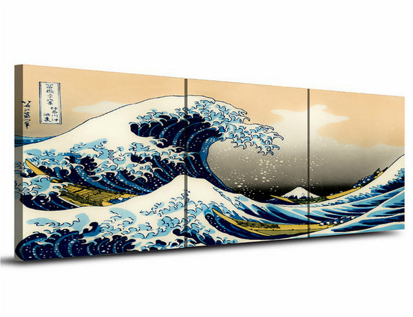 Japan 3 Piece The Great Wave Off Kanagawa by Katsushika Hokusai Gallery Wrapped Canvas Artwork Drop shipping Wall Art Best Gift