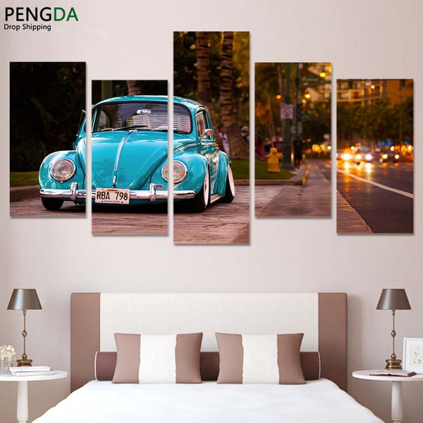 HD Printed Modular Abstract Pictures Wall Art Frame 5 Pieces Volkswagen Beetle Car Painting On Canvas Home Decor Posters PENGDA