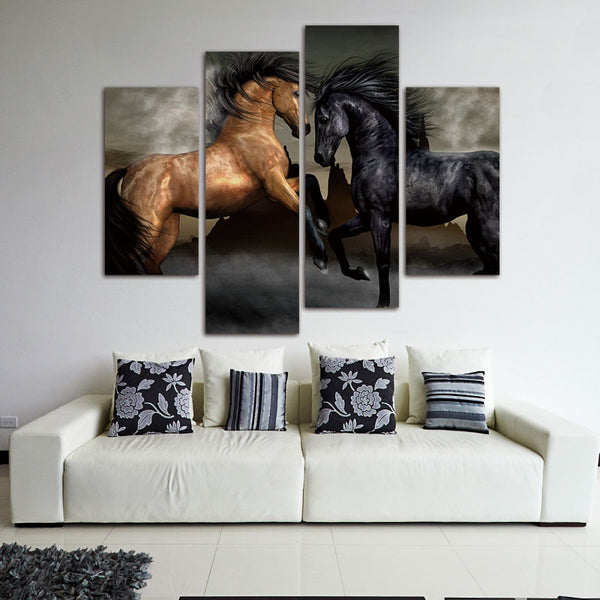4 Panel Modern Printed Large Horse Painting Picture Cuadros Landscape Canvas Wall Art Home Decor For Living Room No Frame