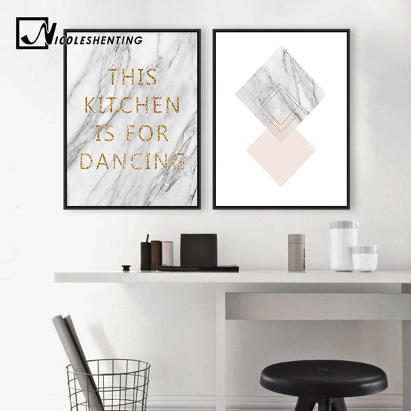 Golden Marble Motivational Poster Canvas Print Minimalist Wall Art Painting Wall Picture for Living Room Nordic Home Decoration