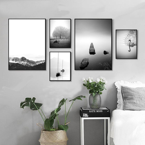 Nordic Landscape Mountain Tree Boat Posters And Prints Wall Art Canvas Painting Wall Pictures For Living Room No Poster Frame