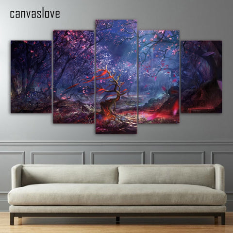 HD printed 5 piece canvas art beautiful forest leaves canvas painting wall pictures for living room free shipping up-1473B