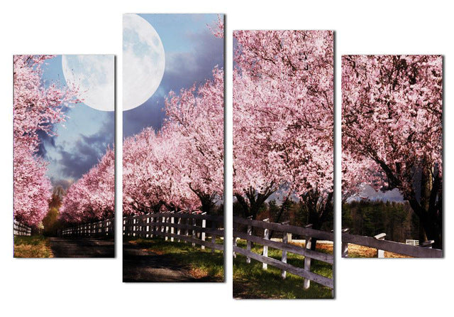 4 Panels Unframed Canvas Photo Prints The Moon Under The Cherry Trees Wall Art Picture Canvas Paintings Wall Decorations