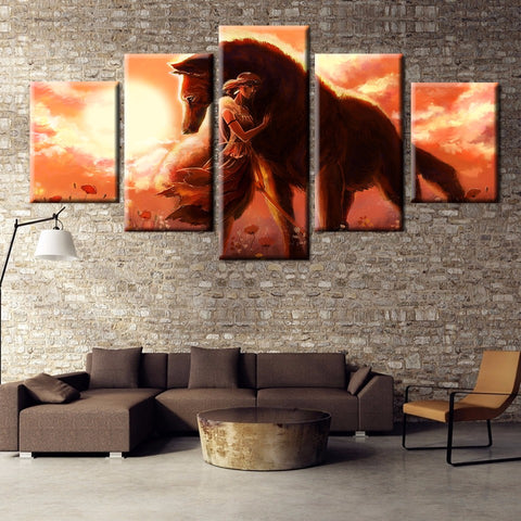 Modular Canvas Pictures Home Decor For Living Room Frame 5 Pieces Anime Princess Mononoke Wolf Paintings Wall Art Posters PENGDA