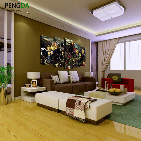Wall Decoration Oil Painting Modern Canvas Art Pictures Frame 5 Panel ONE PIECE Anime Cartoon Characters HD Print Poster PENGDA