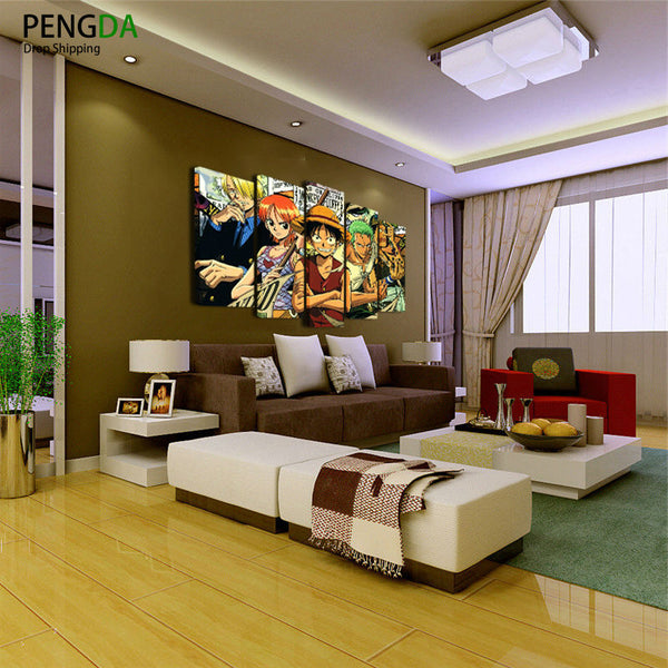 Printed Painting Children'S Room Decor Poster Wall Art Frame 5 Panel ONE PIECE Anime Cartoon Characters Pictures Canvas PENGDA