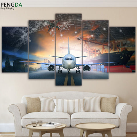 Modern Wall Art Canvas HD Printed Painting Frame Modular Abstract Poster 5 Pieces Plane Aircraft Pictures Home Decorative PENGDA