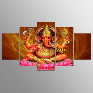 Decoration Home Art canvas Pictures 5 Panel Lord Ganesha Prints Poster Wall For Living Room Modular Frame Painting Abstract