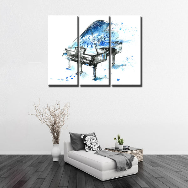 Blues Piano in the Snow Elegance Artistically Painting HD Print Canvas for Office Bedroom Home Decor Artwork Wall Art Best Gift