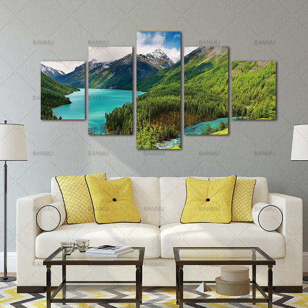 Wall Art Canvas Paintings Wall Decorations for Artwork Giclee Snow Mountain Lakes, Woods 5 Panels  Wall Artwork Home Decor