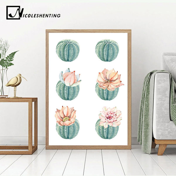 Cactus Decor Wall Art Canvas Painting Watercolor Plant Flower Canvas Posters and Prints Wall Pictures for Living Room