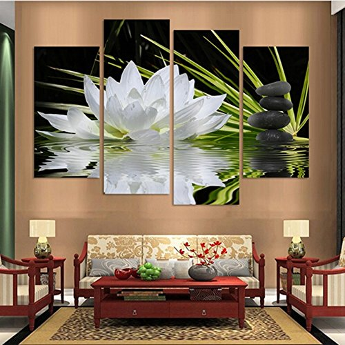4 Pieces/set Canvas Print Flower White Black Wall Art Picture with Modern Wall Paintings Decoration Modular picture (Unframed)