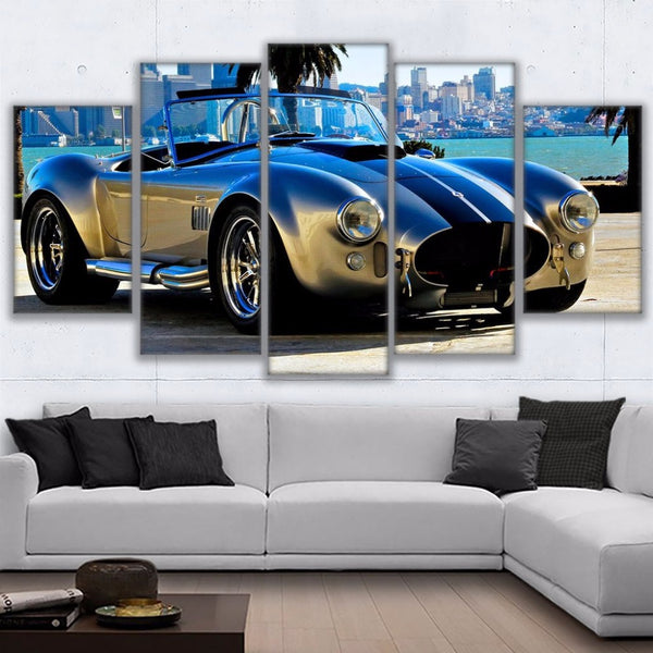 Wall Art Home Decor Living Room Framework Canvas Pictures 5 Pieces Ford Sports Car Paintings HD Prints 1965 Shelby Poster PENGDA