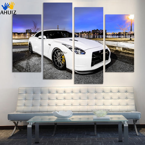 4 Pcs White Sports Car Wall Art painting Home Decoration Living Room Canvas Print Painting on canvas Wall picture F191