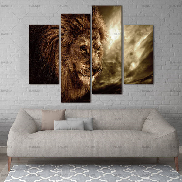 4 Panel Wall Art Brown Fierce Lion Against Stormy Sky Painting The Picture Print On Canvas Animal Pictures For Home Decor