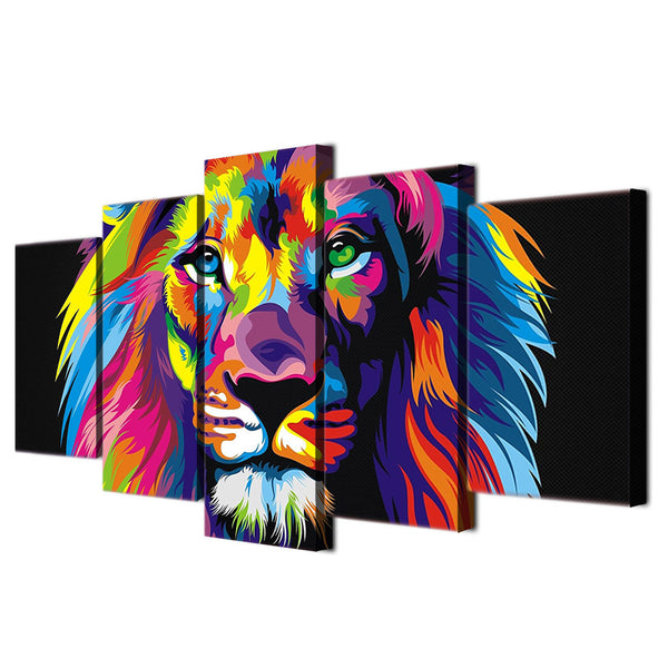 Canvas Posters Home Decor Wall Art Framework 5 Pieces Colorful Lion Paintings For Living Room HD Prints Abstract Animal Pictures