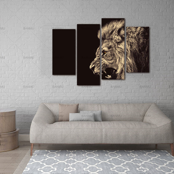 4 Panel Wall Art Painting Roar Lion Pictures Prints On Canvas Animal The Picture Decor Oil For Home Modern Decoration