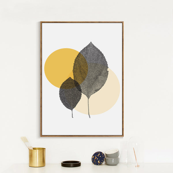 Elegant Poetry Modern Simple Abstract Dots and Leaves Canvas Painting Art Print Poster Picture Wall Decoration Modern Home Decor