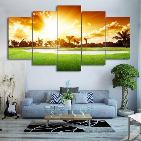 HD Printed Modern Abstract Canvas 5 Panel Golf Course Sunset Landscape Painting Wall Art Modular Poster Frame Pictures Decor