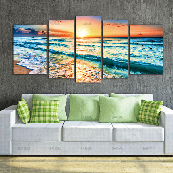 Artwork 5 Panels Wall Art Canvas Seascape Paintings Beach Wall Decor Sea Wall Art Picture Wall Painting For  Home Office Decor