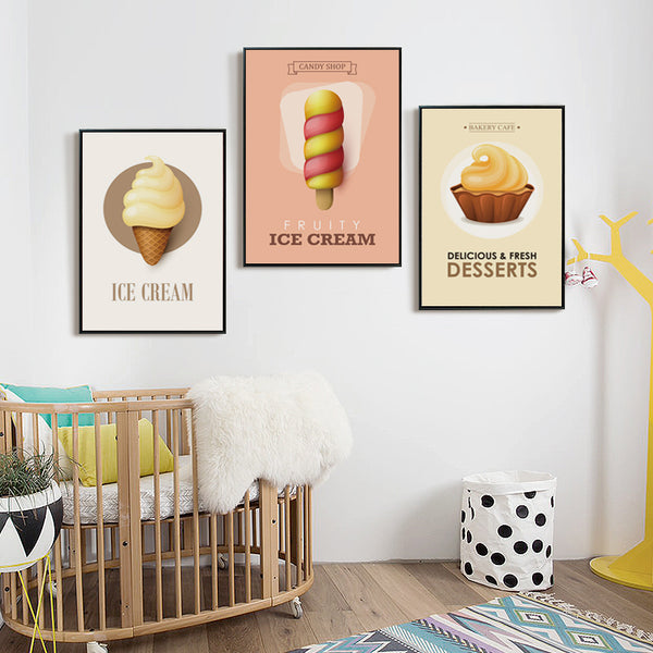 Elegant Poetry Modern Simple Child Favorite Cartoon Candy Dessert Canvas Art Painting Print Poster Picture Wall Baby Room Decor