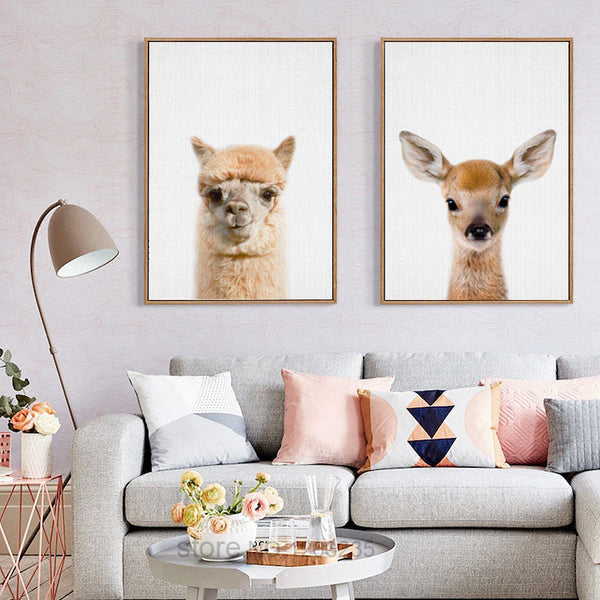 Cute Rabbit Animal Cartoon Nordic Poster Posters And Prints Wall Pictures For Living Room Wall Art Canvas Painting Unframed